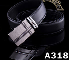 Men's Black Belts Luxury Automatic Buckle PU Leather Belt Fashion High Quality