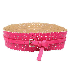 Leather Lady Flower Wide Waist Belt