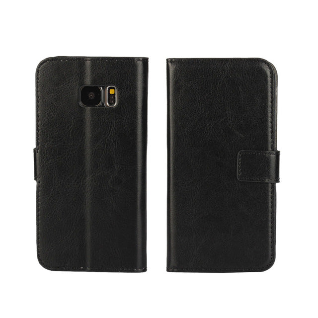 Samsung Galaxy S3 S4 S5 S6 S7 mini Edge J1 J3 J5 J7 A3 A5 2016 Prime Case Holster Flip Crazy-Horse PU Leather Cover