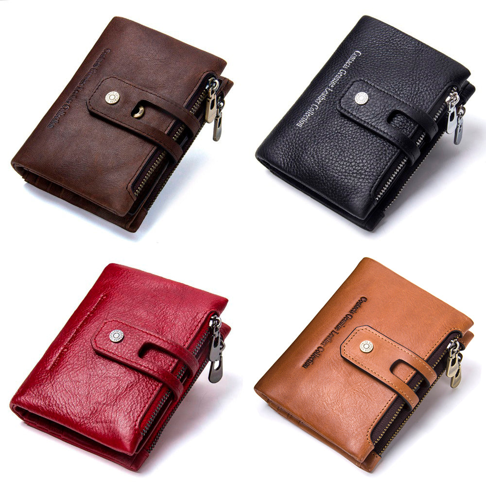 Genuine Leather Wallet Zipper