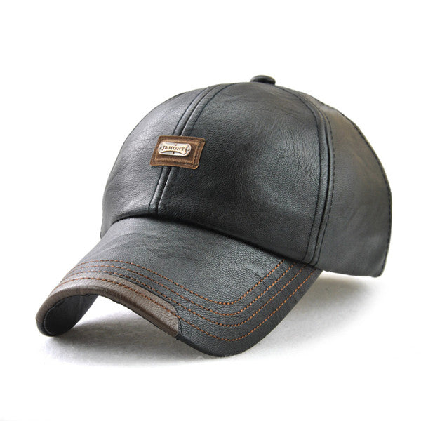 High quality faux leather Cap baseball cap