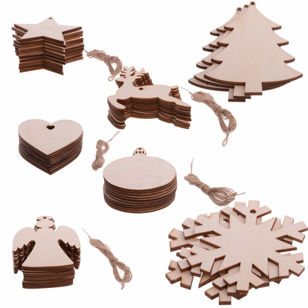 10PCS Wooden Christmas Decorations