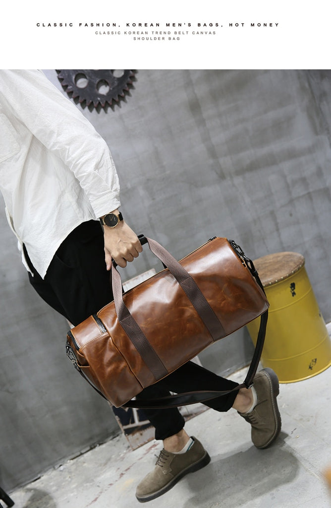 Men Horse Leather Travel Bag