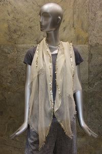 Sequined Ivory Silk Linen Cashmere Scarf - Pashma Outlet