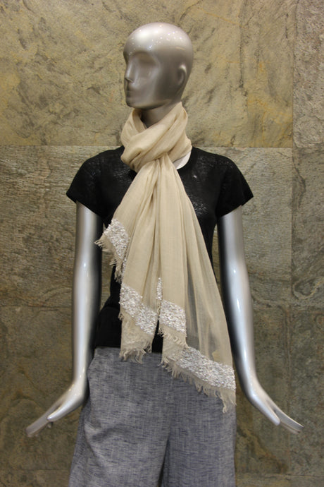 Sequined Ivory Silk Cashmere Scarf - Pashma Outlet
