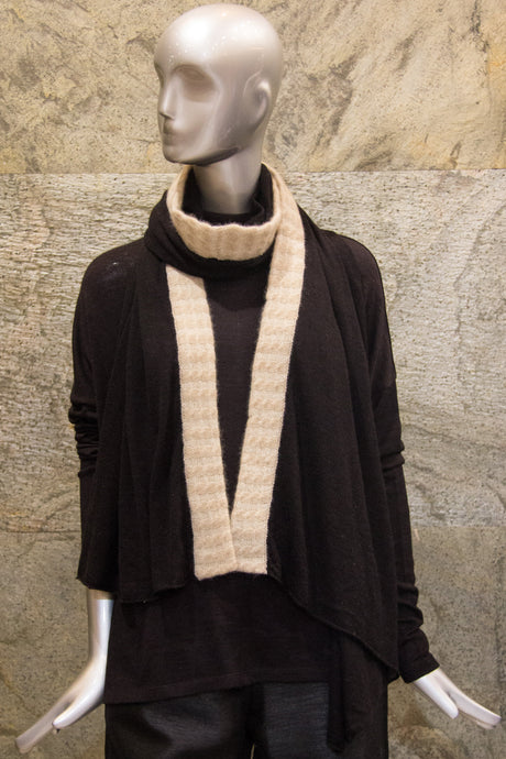 Black Knit Scarf with One Side Baby Cable Border - Pashma Outlet