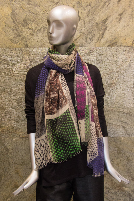 Monocromia Collage Printed Fuschia Green Silk Cashmere Woven Shawl - Pashma Outlet