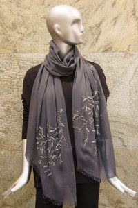 Embroidered Ash Grey Woven Shawl - Pashma Outlet