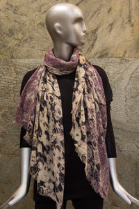 Roses and Tweed on Reddish Purple Woven Shawl - Pashma Outlet