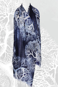 """Tree of Life"" Printed Scarf in Silk and Cashmere - Pashma Outlet"