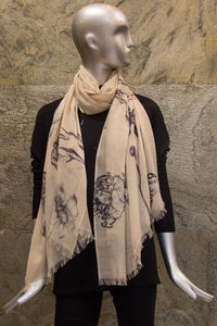 Watercolour Flower Effect  Woven Shawl - Pashma Outlet