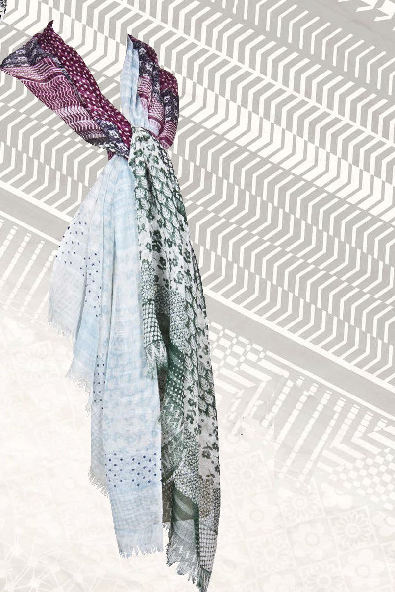 Matisse Printed Scarf in Wool, Silk and Cashmere - Pashma Outlet