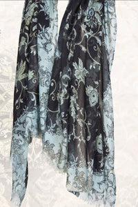 Persian Poetry Floral Scarf in Silk and Cashmere - Pashma Outlet