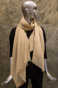 Elegant Solid Beige Pure Cashmere Woven Shawl - Pashma Outlet