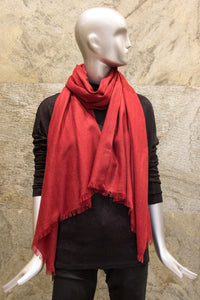 Elegant Solid Red Pure Cashmere Woven Shawl - Pashma Outlet