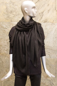 Elegant Solid Black Cashmere Silk Woven Shawl - Pashma Outlet