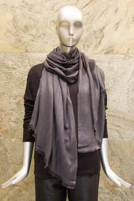 Elegant Solid Charcoal Grey Cashmere Silk Woven Shawl - Pashma Outlet