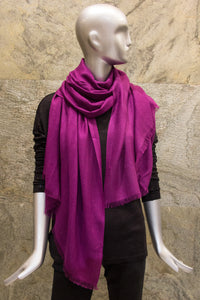Elegant Solid Deep Magenta Silk Cashmere Woven Shawl - Pashma Outlet