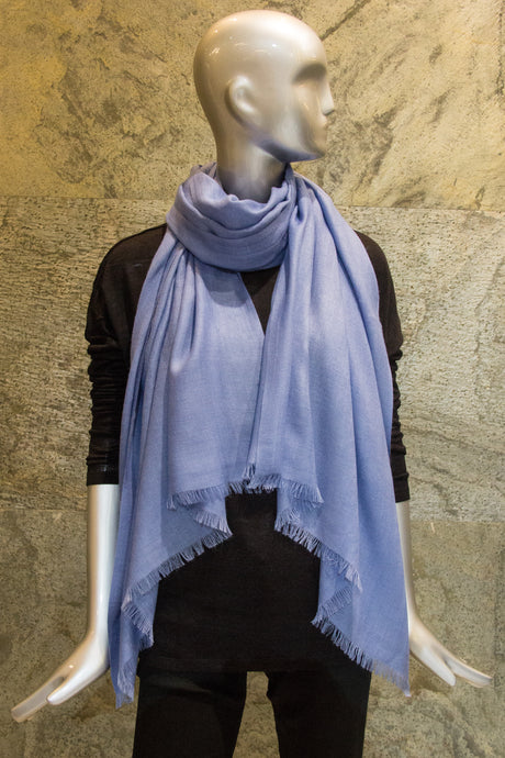 Elegant Solid Light Blue Cashmere Silk Woven Shawl - Pashma Outlet
