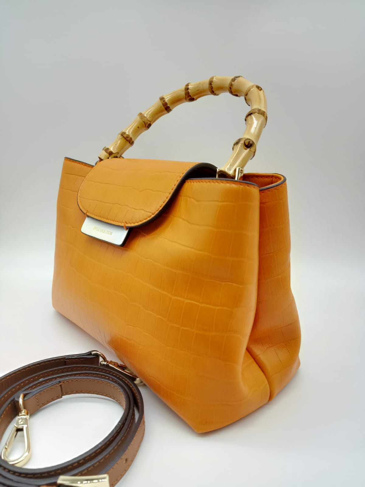 Calf Leather Handbag with Wooden Trim