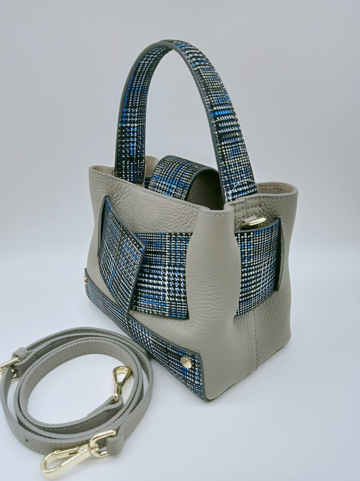 Calf Leather Checked Tote