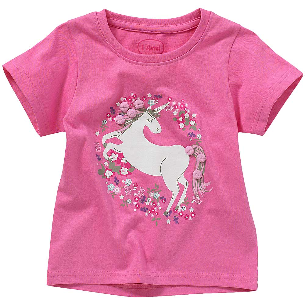 Girls Unicorn Pom Pom T-Shirt
