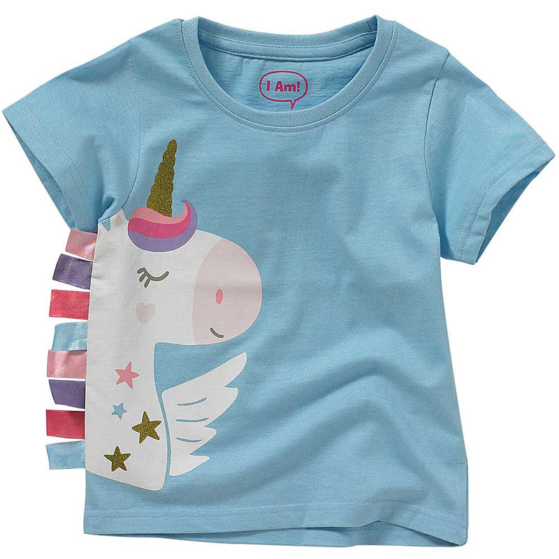 Girls Unicorn Ribbon T-Shirt