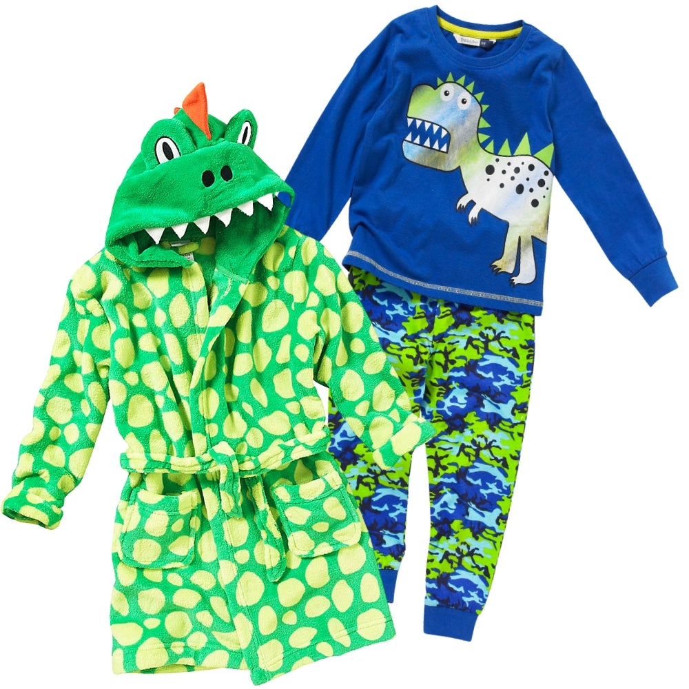 Boys Dinosaur Christmas Eve Robe & Pyjamas Set