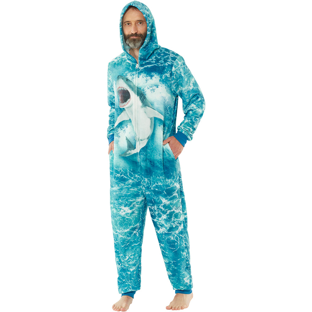 Mens Digital Print Shark Onesie