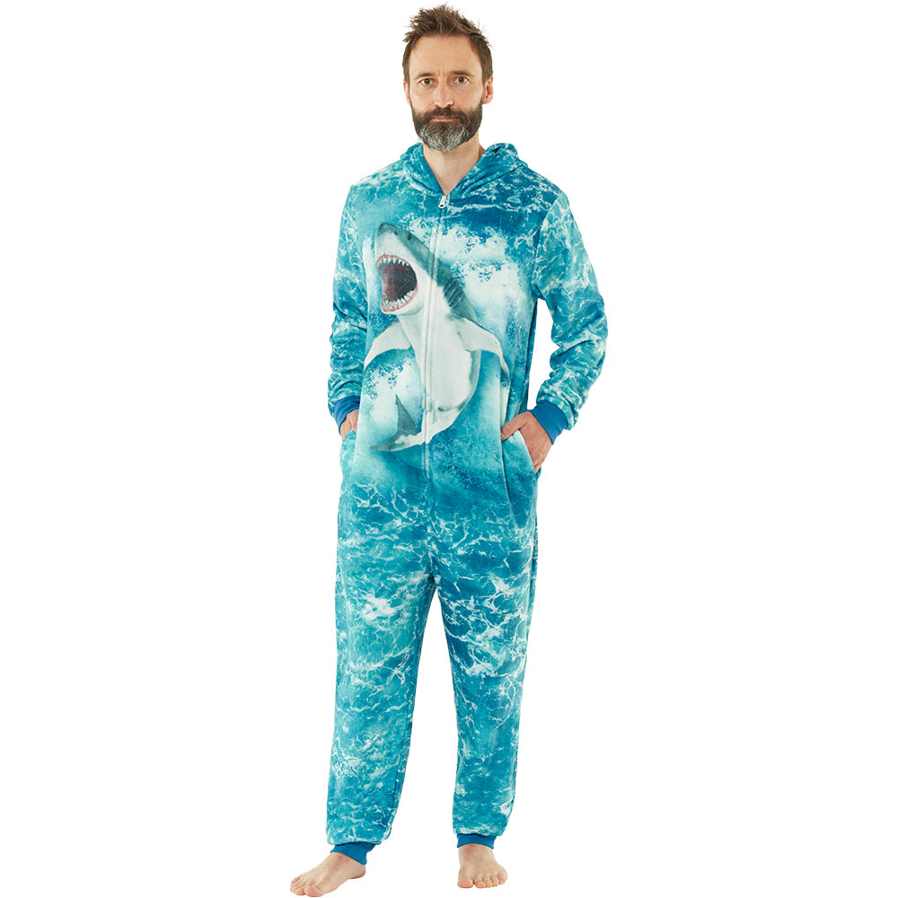 Mens Digital Shark Fleece Onesie