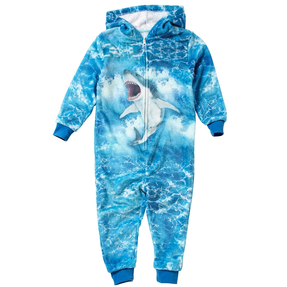 Boys Digital Print Shark Onesie