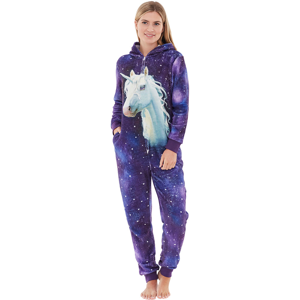 Womens Digital Unicorn Fleece Onesie