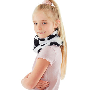 Girls Cow Fleece Neck Warmer