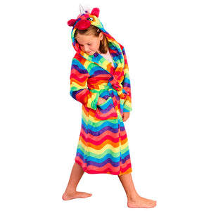 Girls Rainbow Stripe Unicorn Dressing Gown