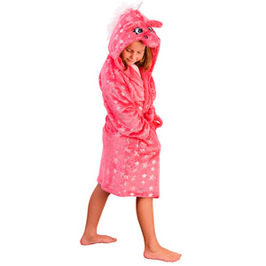 Girls Silver Stars Unicorn Dressing Gown