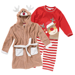 Childs Reindeer Christmas Eve Gown & Pyjamas Set