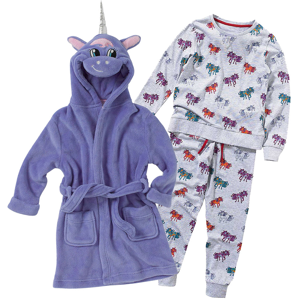 Girls Unicorn Christmas Eve Robe & Pyjamas Set