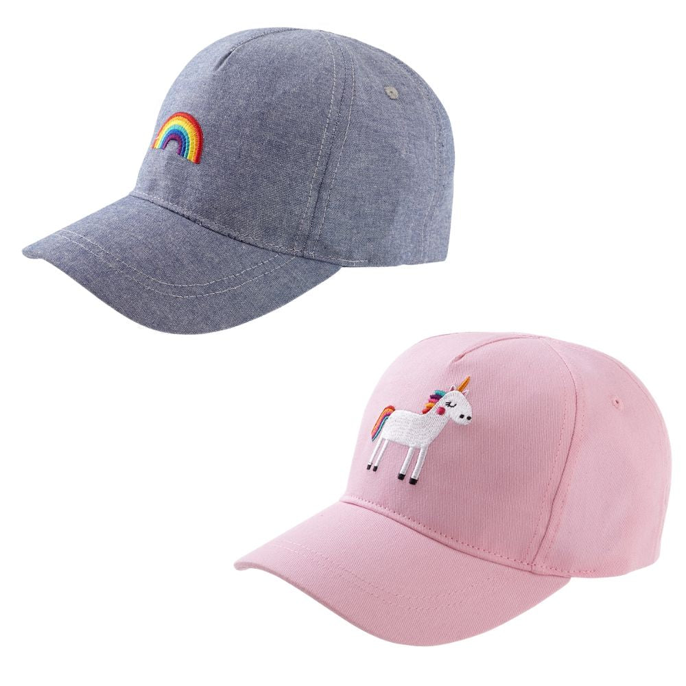 Girls 2 Pack Unicorn Rainbow Peak Caps
