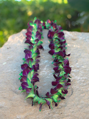 Dyed Green Orchid Single Lei - locallei