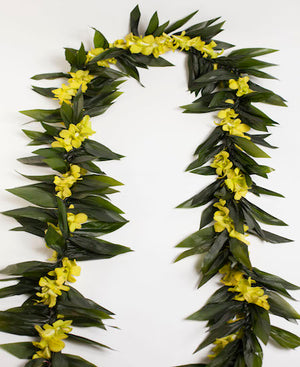 Maile Style Ti Leaf Lei - Orchid Lei - locallei
