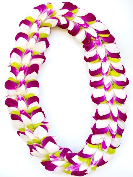White Purple Green Feather Lei - locallei