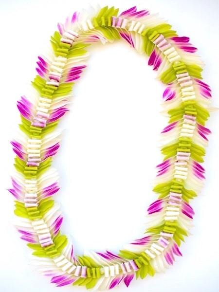 White Green & Purple Butterfly Lei - locallei