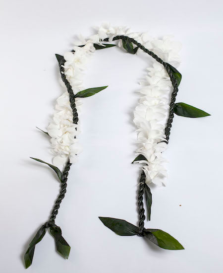 Ti leaf lei with white orchid - locallei