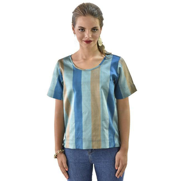 Chestnut and Cerulean Silk Top