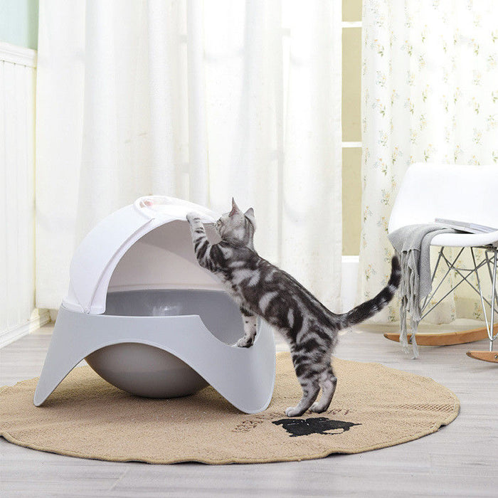 Space Capsule Plastic Cat Litter Box Cat Dog Pet Toilet - Naughty Bubbles