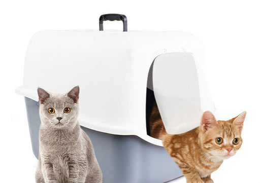 Enclosed Type Hooded Cat Litter Box Portable Ventilated Pet Kitten Cat Toilet - Naughty Bubbles