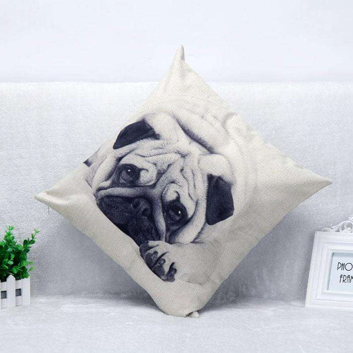 Beige Pug Pillow And Customizable Pillow - Naughty Bubbles