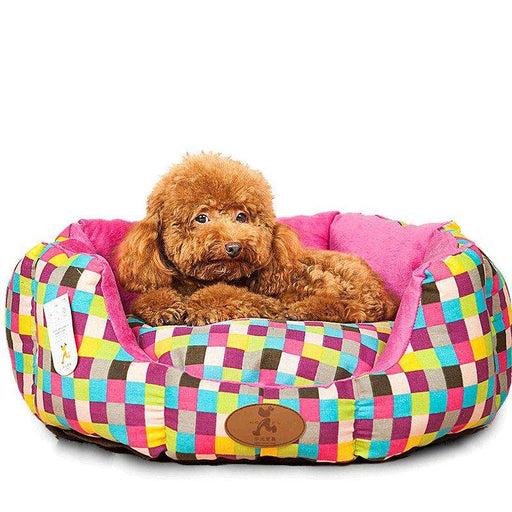 Colorful Checkered dog bolster bed - Naughty Bubbles