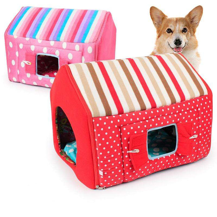 Color striped window pet house two-piece set - Naughty Bubbles
