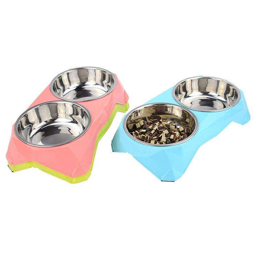 Colorful dog food and water bowl - Naughty Bubbles